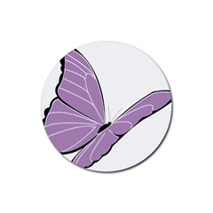 Purple Awareness Butterfly 2 Drink Coaster (Round)