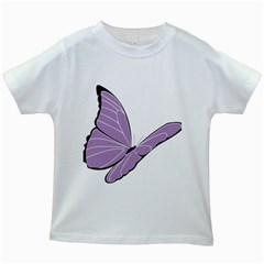 Purple Awareness Butterfly 2 Kids T-shirt (White)