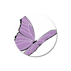 Purple Awareness Butterfly 2 Magnet 3  (Round)