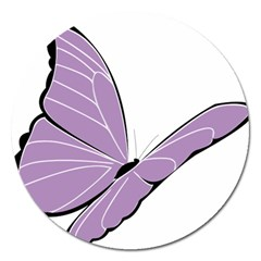 Purple Awareness Butterfly 2 Magnet 5  (Round)