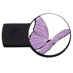 Purple Awareness Butterfly 2 2gb Usb Flash Drive (round)