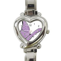 Purple Awareness Butterfly 2 Heart Italian Charm Watch