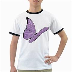 Purple Awareness Butterfly 2 Men s Ringer T-shirt