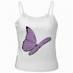 Purple Awareness Butterfly 2 White Spaghetti Top