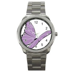 Purple Awareness Butterfly 2 Sport Metal Watch