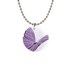 Purple Awareness Butterfly 2 Button Necklace