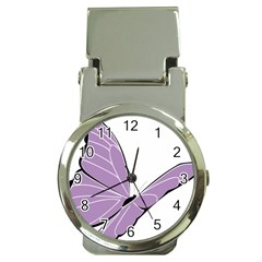 Purple Awareness Butterfly 2 Money Clip with Watch