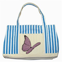 Purple Awareness Butterfly 2 Blue Striped Tote Bag