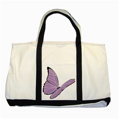 Purple Awareness Butterfly 2 Two Toned Tote Bag