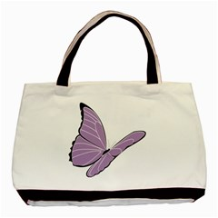 Purple Awareness Butterfly 2 Twin-sided Black Tote Bag