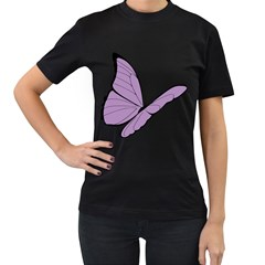 Purple Awareness Butterfly 2 Women s T-shirt (Black)