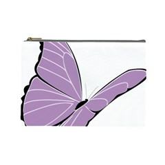 Purple Awareness Butterfly 2 Cosmetic Bag (Large)