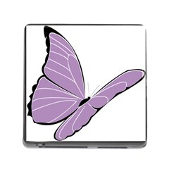 Purple Awareness Butterfly 2 Memory Card Reader with Storage (Square)