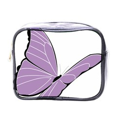 Purple Awareness Butterfly 2 Mini Travel Toiletry Bag (One Side)