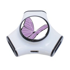 Purple Awareness Butterfly 2 3 Port USB Hub