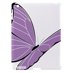 Purple Awareness Butterfly 2 Apple iPad 3/4 Hardshell Case (Compatible with Smart Cover)
