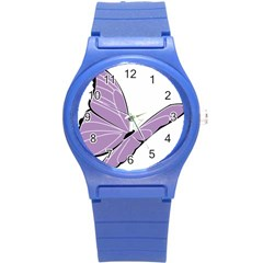 Purple Awareness Butterfly 2 Plastic Sport Watch (Small)