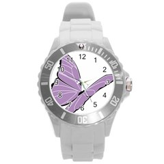 Purple Awareness Butterfly 2 Plastic Sport Watch (Large)
