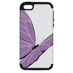 Purple Awareness Butterfly 2 Apple iPhone 5 Hardshell Case (PC+Silicone)
