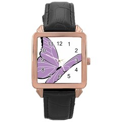 Purple Awareness Butterfly 2 Rose Gold Leather Watch