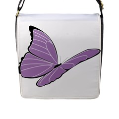 Purple Awareness Butterfly 2 Flap Closure Messenger Bag (Large)