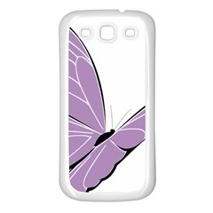 Purple Awareness Butterfly 2 Samsung Galaxy S3 Back Case (white)