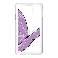 Purple Awareness Butterfly 2 Samsung Galaxy Note 3 N9005 Case (White)