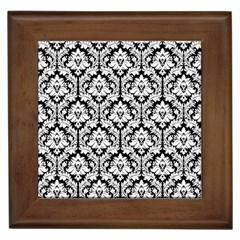 White On Black Damask Framed Ceramic Tile