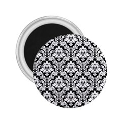 White On Black Damask 2.25  Button Magnet