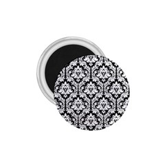 White On Black Damask 1 75  Button Magnet