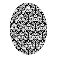 White On Black Damask Oval Ornament