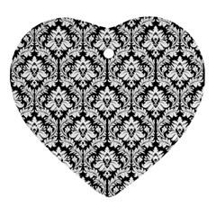 White On Black Damask Heart Ornament