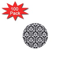 White On Black Damask 1  Mini Button (100 Pack)