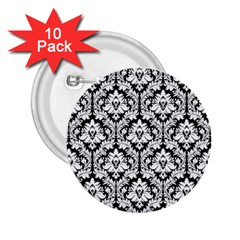 White On Black Damask 2.25  Button (10 pack)