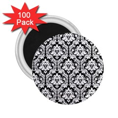 White On Black Damask 2.25  Button Magnet (100 pack)
