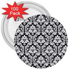 White On Black Damask 3  Button (100 pack)