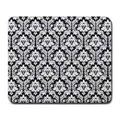 White On Black Damask Large Mouse Pad (rectangle)
