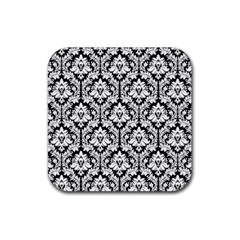 White On Black Damask Drink Coaster (Square)