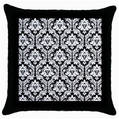Black & White Damask Pattern Throw Pillow Case (Black)