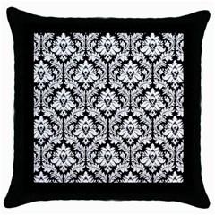 Black & White Damask Pattern Throw Pillow Case (black)