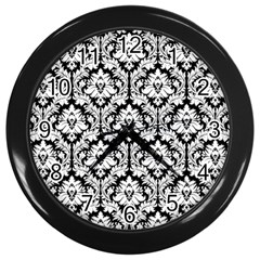 White On Black Damask Wall Clock (Black)
