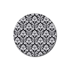 White On Black Damask Drink Coaster (round)