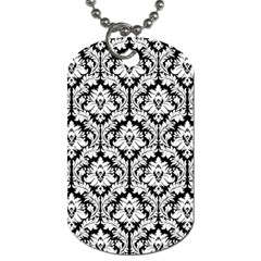 White On Black Damask Dog Tag (One Sided)