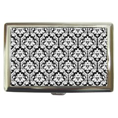 White On Black Damask Cigarette Money Case