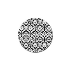 White On Black Damask Golf Ball Marker 10 Pack
