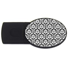 White On Black Damask 1GB USB Flash Drive (Oval)