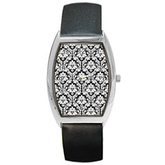 White On Black Damask Tonneau Leather Watch