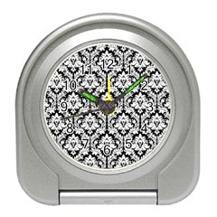 White On Black Damask Desk Alarm Clock