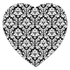 White On Black Damask Jigsaw Puzzle (Heart)
