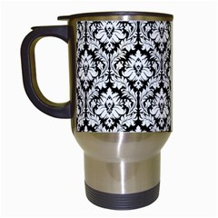 White On Black Damask Travel Mug (White)